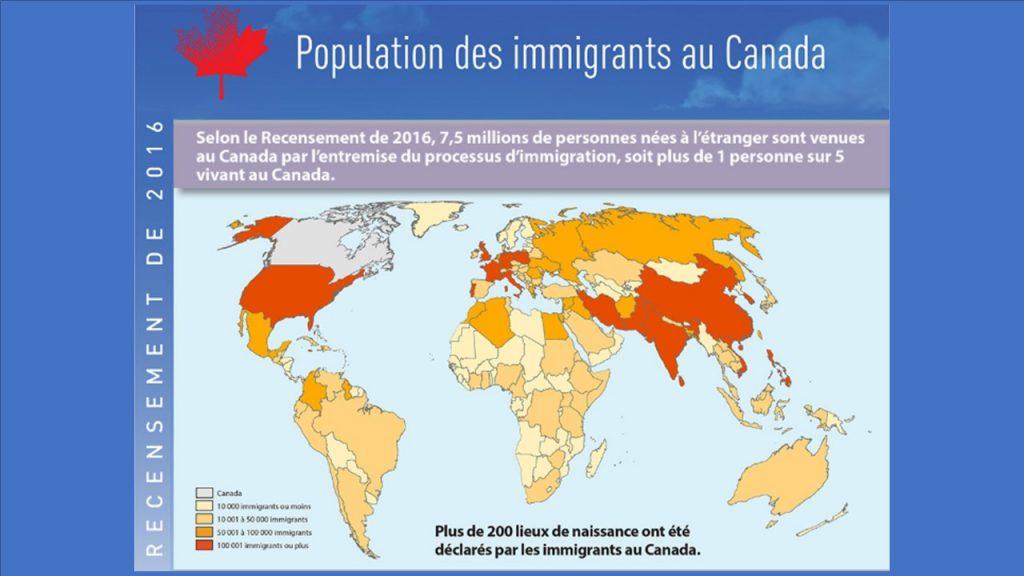 Carte du monde illustrant les pays d'origine des pays des immigrants vivant au Canada suite au Recensement 2016