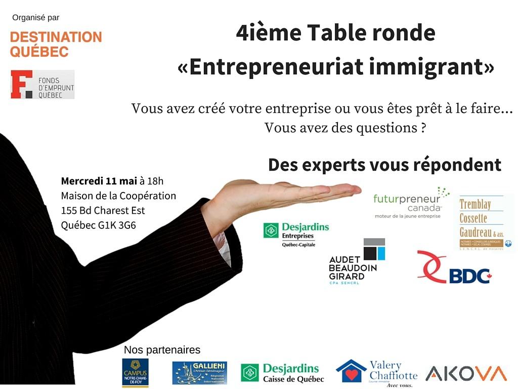 table ronde Entrepreneuriat immigrant quebec