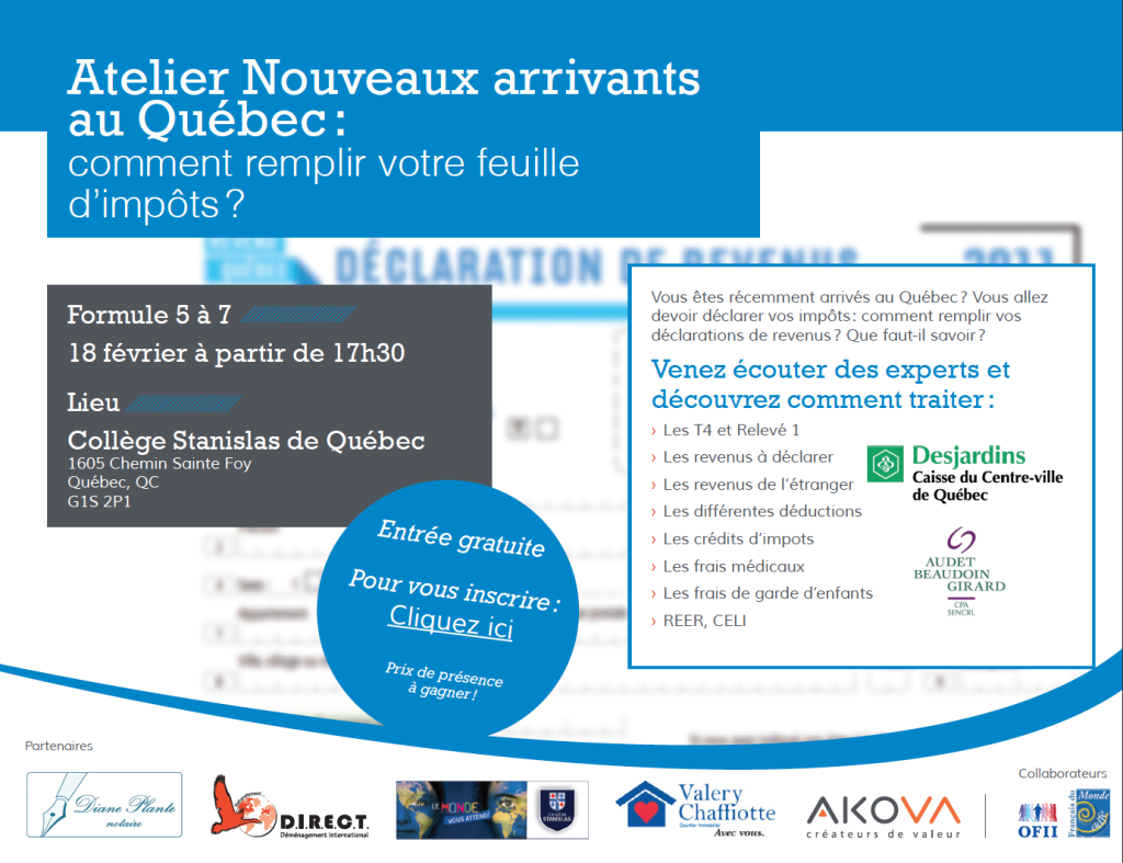 Atelier destination Québec impôts immigrer
