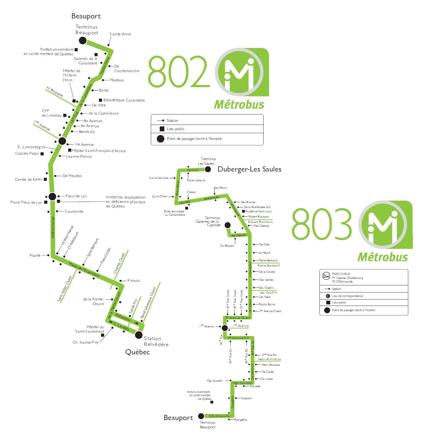 carte des lignes du metrobus de québec 802 et 803