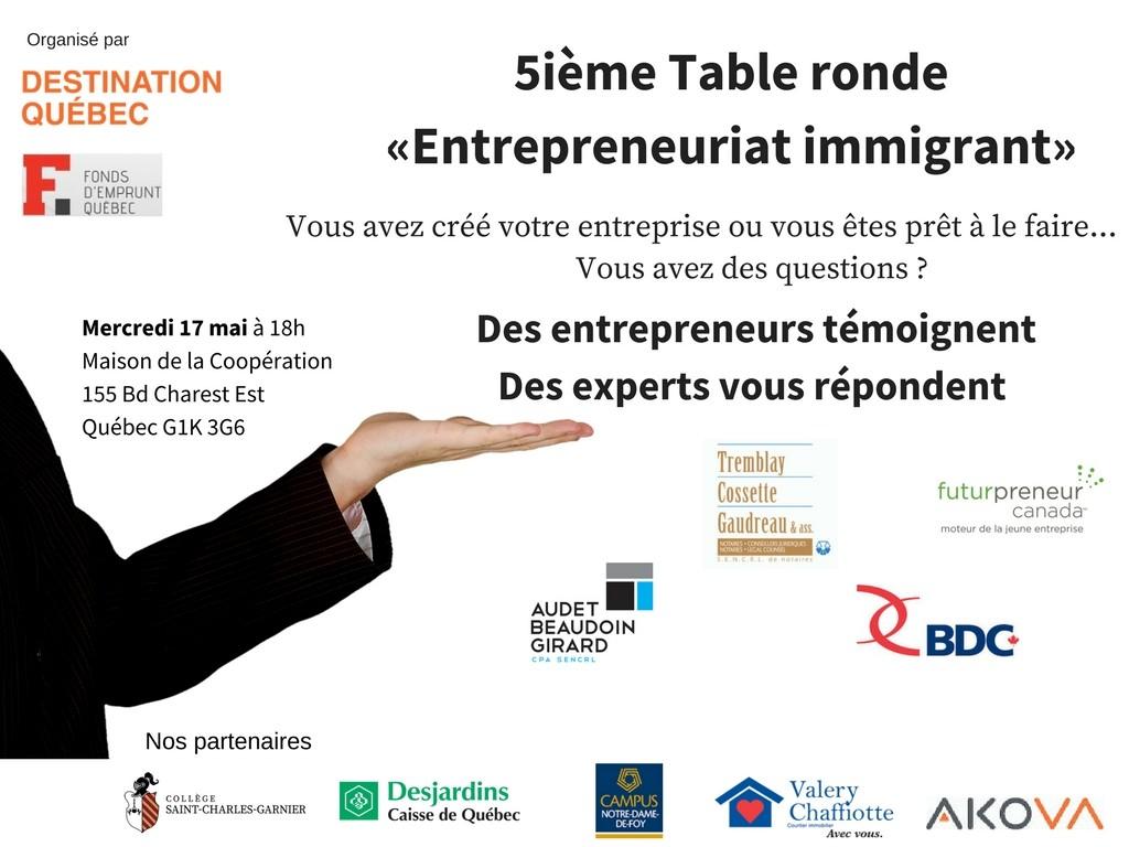 5ieme Table ronde Entrepreneurait immigrant